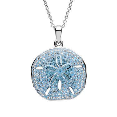 Sand Dollar Necklace With Aqua Swarovski® Crystals