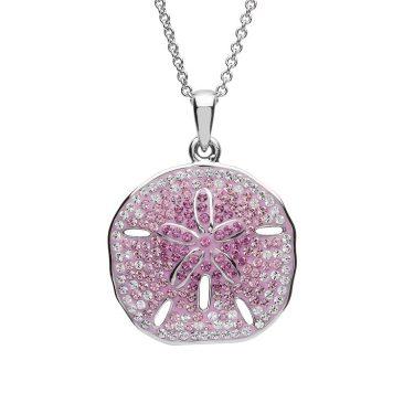 Pink Sand Dollar Necklace With Swarovski® Crystals