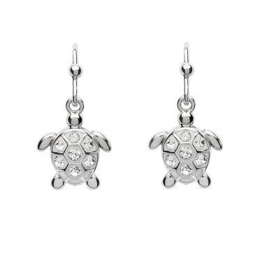 Drop Turtle Earrings with White Swarovski® Crystals