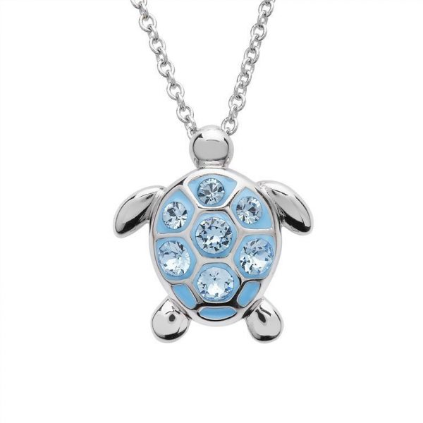 Sea Turtle Necklace With Aqua Swarovski® Crystals - Medium Size