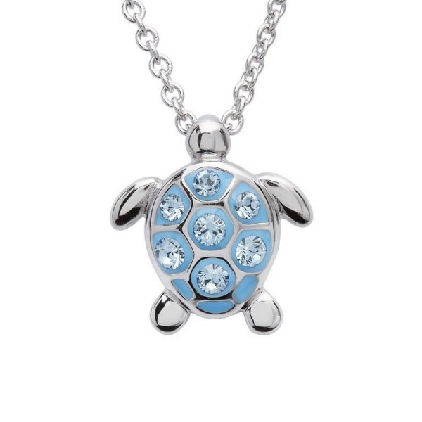 Sea Turtle Necklace With Aqua Swarovski® Crystals - Small Size