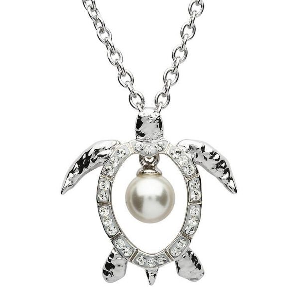 Turtle Pearl Necklace Adorned With White Swarovski® Crystal
