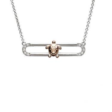 Sea Turtle Necklace Slider with Rose Gold Accent & Swarovski® Crystals