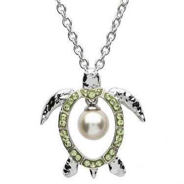 Sterling Silver Turtle Pendant with Pearl & Swarovski® Crystals