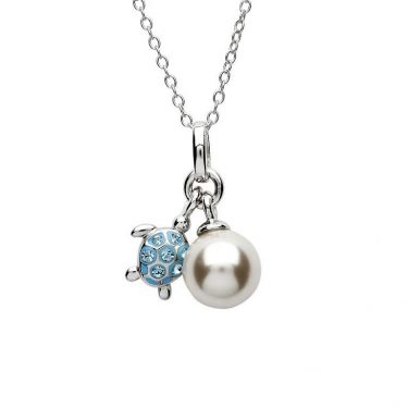 Aqua Turtle and Pearl Pendant with Swarovski® Crystals