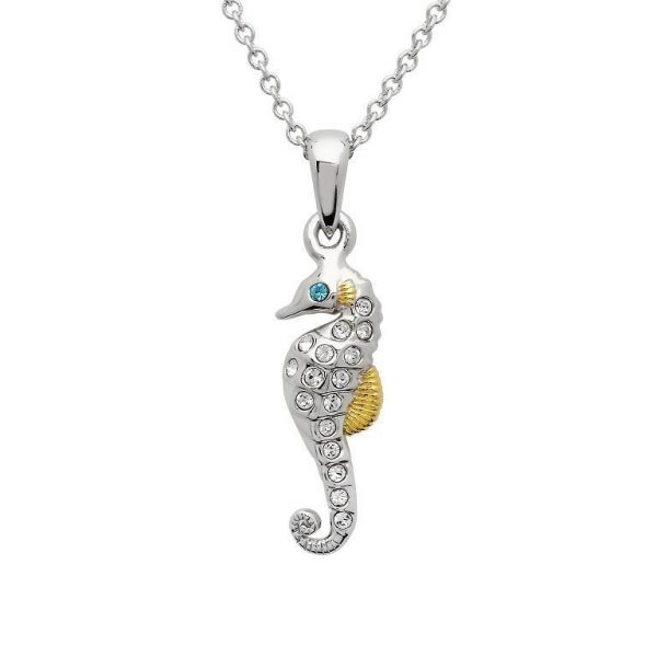 Seahorse Necklace Encrusted with White Swarovski® Crystal