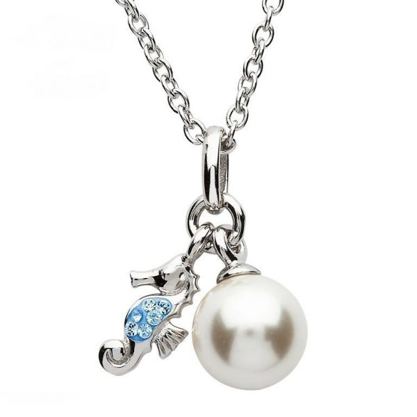 Seahorse Necklace with Pearl and Swarovski® Crystals