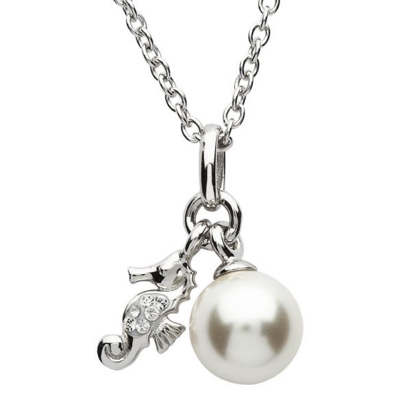 Seahorse Necklace with Pearl Adorned & White Swarovski® Crystal
