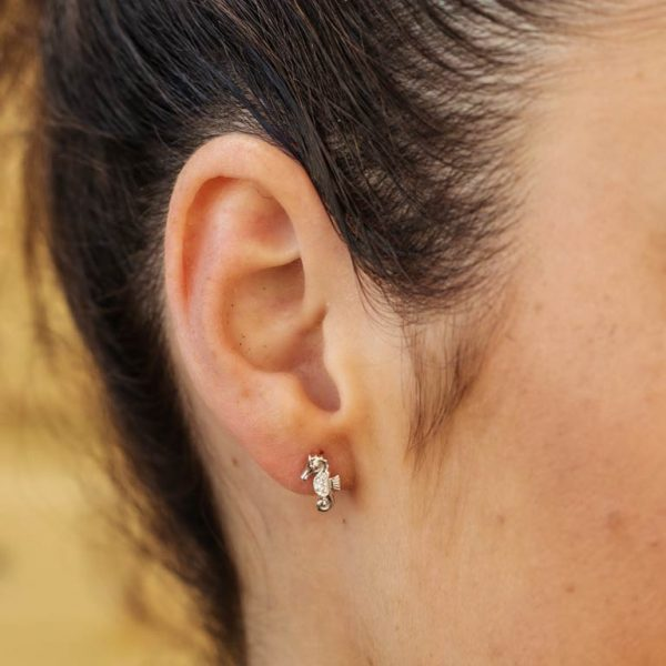 Seahorse Stud Earrings with White Swarovski® Crystals