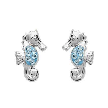 Stud Seahorse Earrings with Blue Swarovski® Crystals