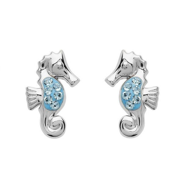 Stud Seahorse Earrings with Blue Swarovski® Crystals