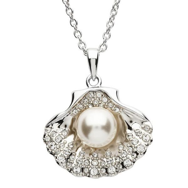 Shell & Pearl Necklace Embellished with White Swarovski® Crystal