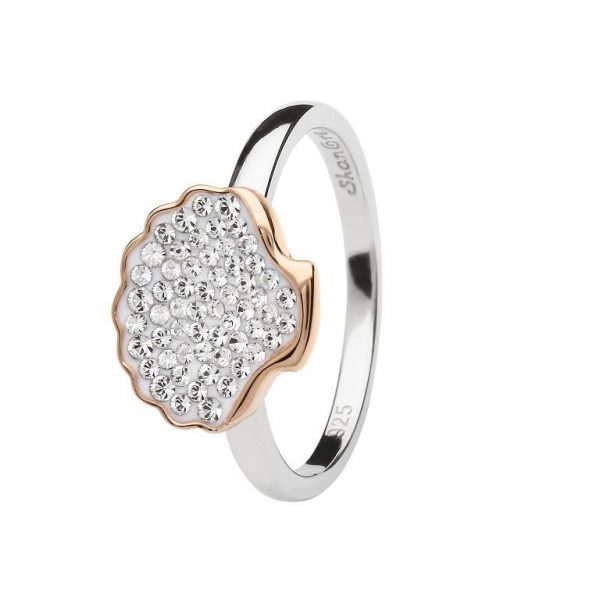 Shell Ring Encrusted with White Swarovski® Crystal