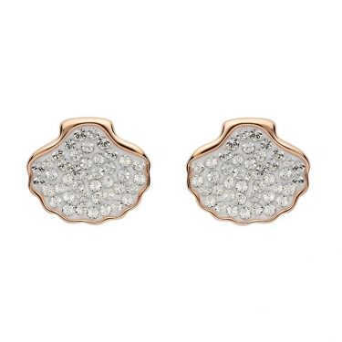 Shell Stud Earrings Encrusted with White Swarovski® Crystal