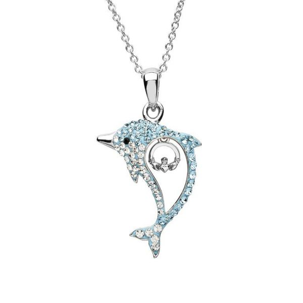 Aqua Claddagh Dolphin Necklace with Swarovski® Crystals