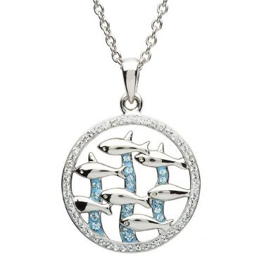 Blue Fish Necklace Encrusted with White & Aquamarine Swarovski® Crystal