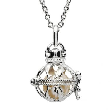 Silver Dolphin Pearl Pendant Adorned with White Swarovski® Crystal