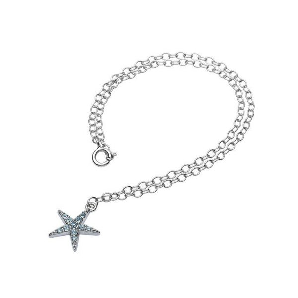 Starfish Anklet adorned with Aqua Swarovski® Crystals