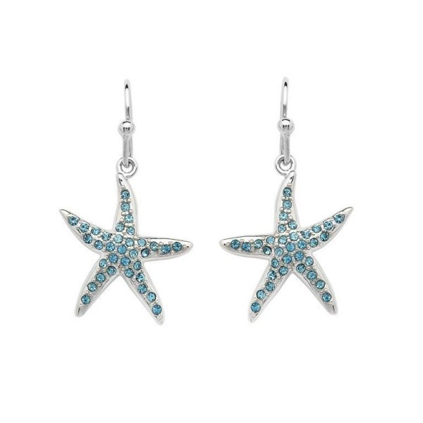 Starfish Drop Earrings adorned with Aqua Swarovski® Crystals
