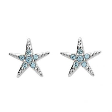 Stud Star Fish Earrings with Aqua Swarovski® Crystals