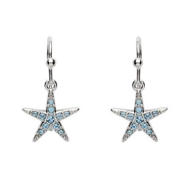 Drop Star Fish Earrings with Aqua Swarovski® Crystals