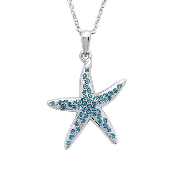 Starfish Necklace Encrusted with Aqua Swarovski® Crystals