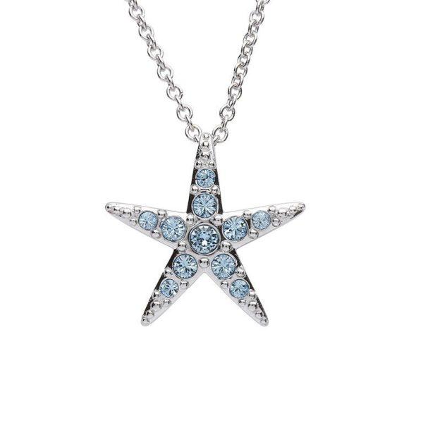 Starfish Necklace With Aqua Swarovski® Crystals - Medium Size
