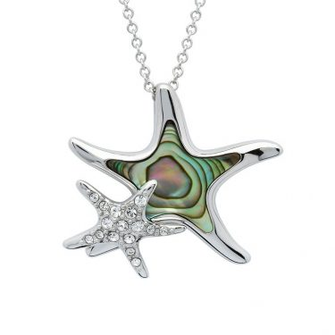 Starfish Necklace with Mom & Baby with Swarovski® Crystals