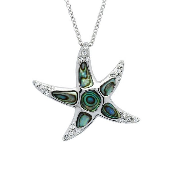 Starfish Necklace with Swarovski® Crystals Abalone Shell