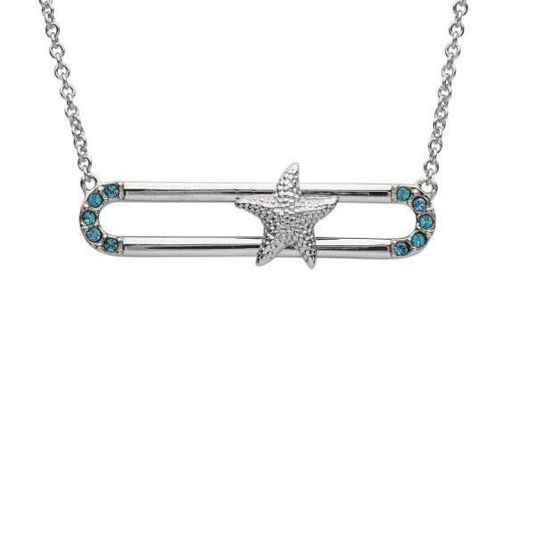 Starfish Necklace Slider With Blue Swarovski® Crystals