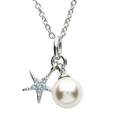 Starfish Necklace Adorned with Aqua Swarovski® Crystal