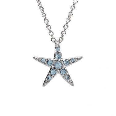 Starfish Pendant With Aqua Swarovski® Crystals - Small Size