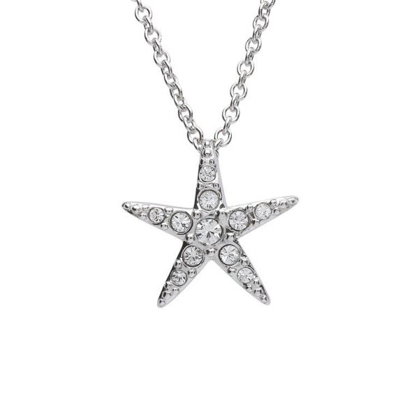 Starfish Pendant With Clear Swarovski® Crystals - Medium Size