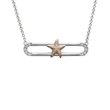 Starfish Pendant Slider With Rose Gold Accent & Swarovski® Crystals