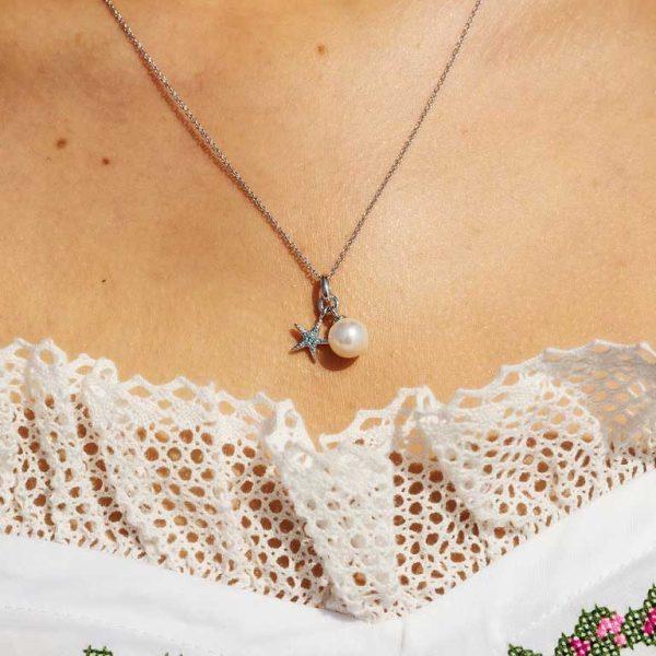 Starfish Necklace Adorned with Aqua Swarovski® Crystal
