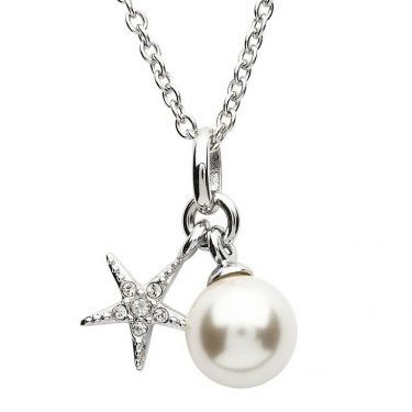 Starfish Necklace Adorned with White Swarovski® Crystal