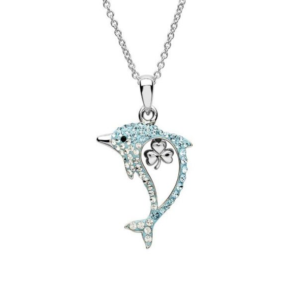 Aqua Shamrock Dolphin Necklace with Swarovski® Crystals
