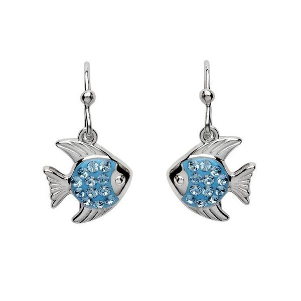 Blue Dangle Fish Earrings with Swarovski® Crystals