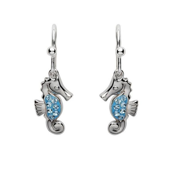 Drop Seahorse Earrings with Aqua Swarovski® Crystals