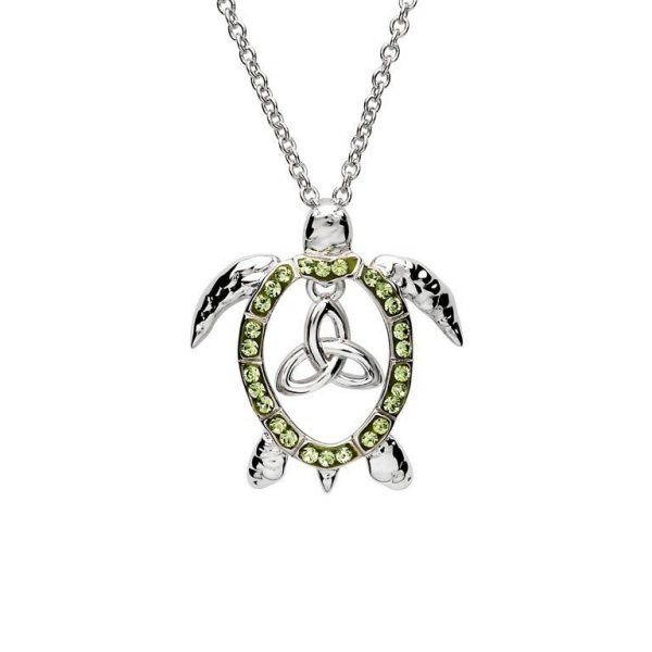 Peridot Trinity Turtle Necklace with Swarovski® Crystals