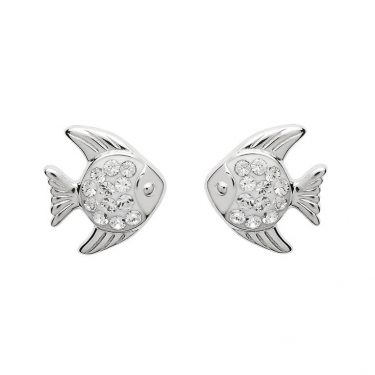 Stud Fish Earrings with Swarovski® Crystals