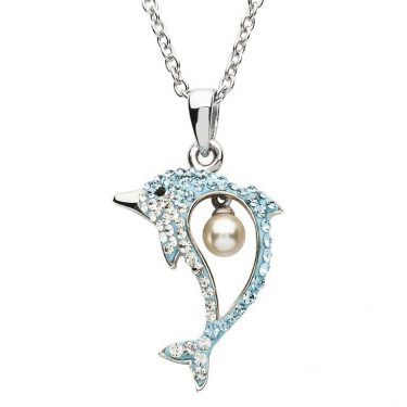 Dolphin Necklace with Pearl & Swarovski® Crystal