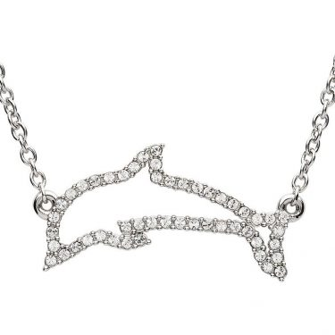 Sterling Silver Dolphin Necklace with White Swarovski® Crystal