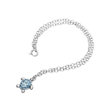 Turtle Anklet embellished with Aqua Swarovski® Crystals
