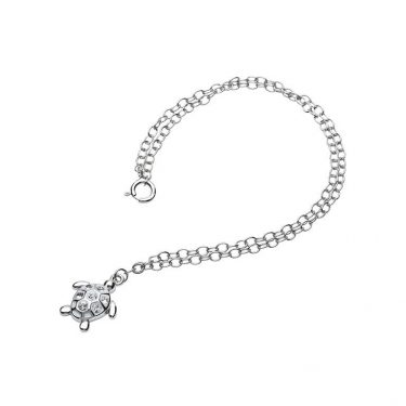 Turtle Anklet encrusted with with clear Swarovski® Crystals