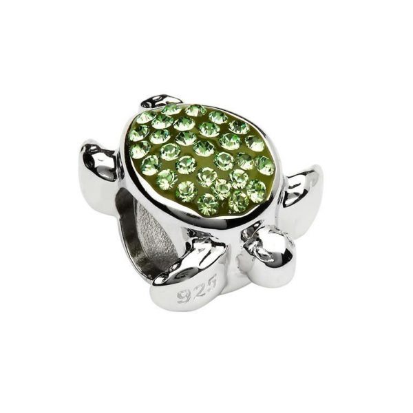 Green Swarovski Turtle Bead with Swarovski® Crystals