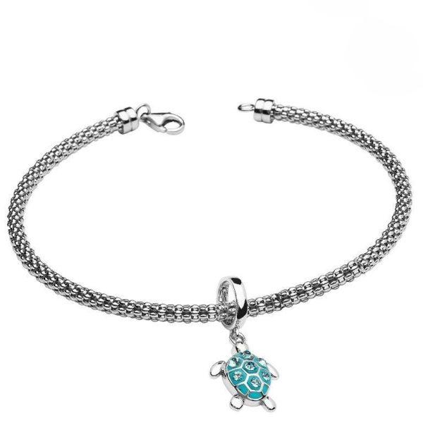 Turtle Charm Bead Bracelet With Swarovski® Crystals