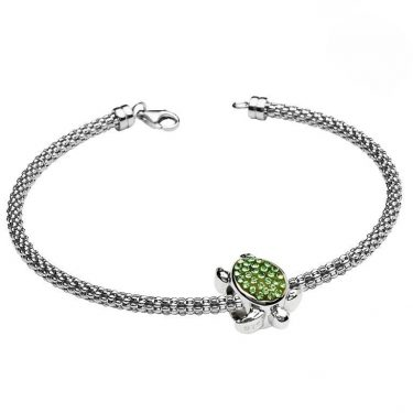 Turtle Charm Bracelet With Swarovski® Crystals