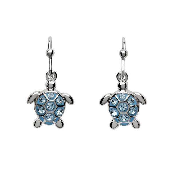 Drop Turtle Earrings with Blue Swarovski® Crystals