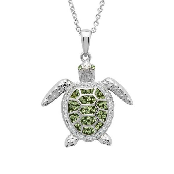 Green Turtle Necklace Encrusted with Swarovski® Crystal